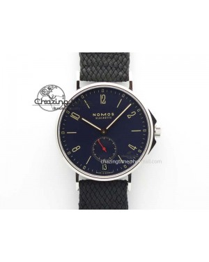 Ahoy Atlantik Date SS Blue Dial On Black Textile Strap A2813