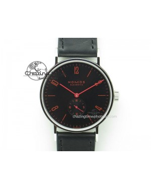 Tangente SS Black Dial Red Number Markers On Black Leather Strap A2813