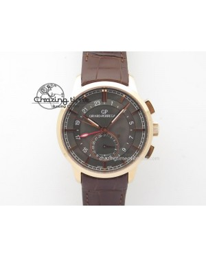 1966 Dual Time RG TF 1:1 Best Edition Gray Dial On Brown Leather Strap A3300