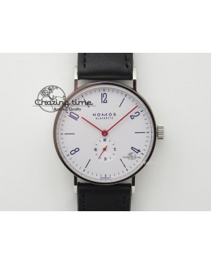 Tangente SS White Dial On Blue Number Markers Red Handset On Black Leather Strap A2813