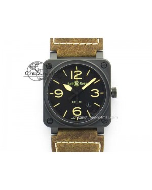 BR 03-92 PVD Case Black Dial 42.5mm On Leather Strap MIYOTA 9015 V2