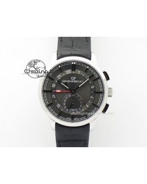 1966 Dual Time SS TF 1:1 Best Edition Gray Dial On Black Leather Strap A3300