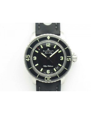 Fifty Fathoms 5015C SS Black ZF 1:1 Best Edition Black Dial On Nylon Strap A1315