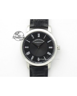 Langematik MK Best Edition SS Black Dial On Black Leather Strap A88275