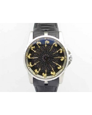 Excalibur RDDBEX0495 SS Black Dial On Black Leather Strap