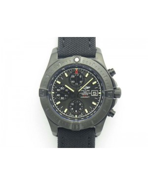 Challenger Chronograph DLC Black Dial On Nylon Strap A7750