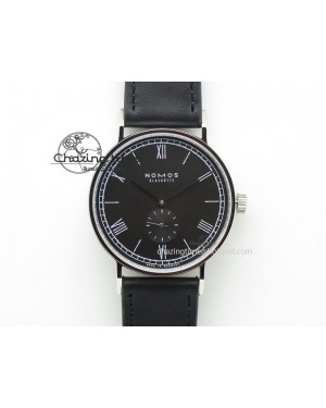 Ludwig 38 Roman Black Dial On Black Leather Strap A2813