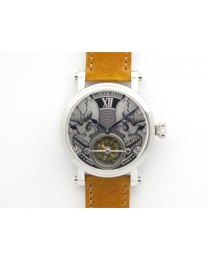 Speake Marin SS Case Silver Dial On Brown Leather Strap Asian EQ Tourbillon (Free Leather Strap)
