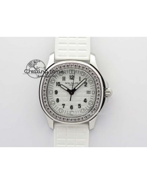 Aquanaut SS 35mm Best Editon White Dial Diamond Bezel On White Rubber Strap Ronda Quartz