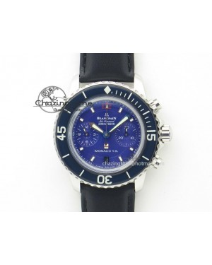 Fifty Fathoms Chronograph SS Blue Dial On Black Leather Strap A7750