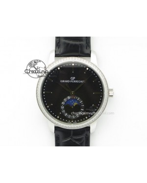 GP Moonphase SS Black Dial Diamond Bezel On Black Leather Strap On Cal.GP033MO