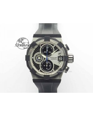 C1 Chronograph SS H-Maker Black CF Dial On Black Rubber Strap A7750