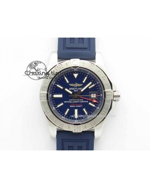 Avenger GMT SS GF 1:1 Best Edition Blue Sticks Marker Dial On Rubber Strap A2836