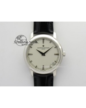 VC SS UT Best Edition White Dial Diamond Markers On Black Leather Strap