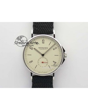 Ahoi Atlantik SS White Dial On Black Textile Strap A2813