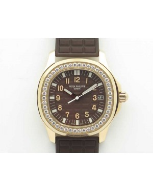 Aquanaut Jumbo 5069A RG TWF Best Edition Brown Dial Diam on Rubber Strap Asian PP324CS (Free Box)