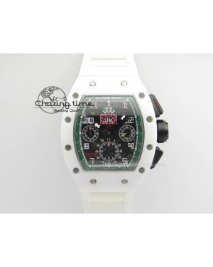 RM011 Felipe Massa White Ceramic/DLC RMF Black Crown On White Rubber Strap A7750