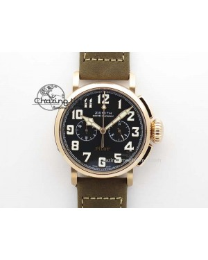 Heritage Pilot Ton-Up RG Case Black Dial On Brown Asso Leather Strap Jap Quartz