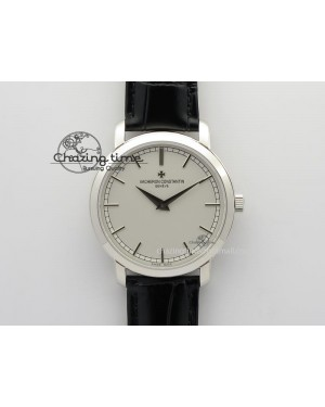 VC SS UT Best Edition White Dial Sticks Markers On Black Leather Strap