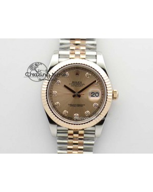DateJust 41mm 126303 Noob 1:1 Best Edition RG Wrapped RG Diam Dial Fluted Bezel On Jubilee Bracelet A3235