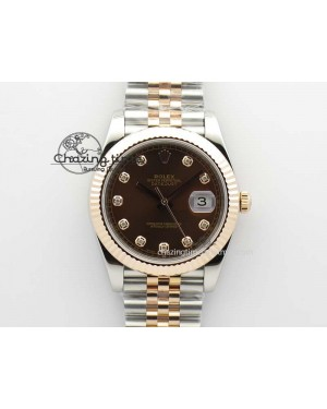 DateJust 41mm 126303 Noob 1:1 Best Edition RG Wrapped Brown Diam Dial Fluted Bezel On Jubilee Bracelet A3235