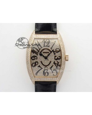 FM RG Diamond Case Best Edition Diamond Dial On Black Alligator Leather SEIKO NH05A