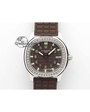 Aquanaut SS 35mm Best Editon Brown Dial Diamond Bezel on Brown Rubber Strap Ronda Quartz