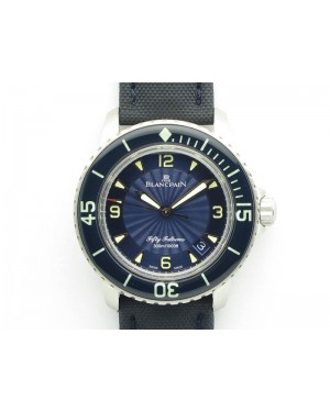 Fifty Fathoms SS Blue ZF 1:1 Best Edition Blue Dial On Sail Canvas Strap A2836 (Free Extra Strap)