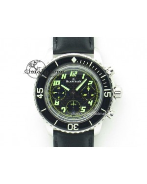 Fifty Fathoms Chronograph SS Black Number Markers Dial On Black Leather Strap A7750