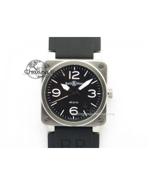 BR 03-92 SS 42MM Black Dial On Black Rubber Strap MIYOTA 9015