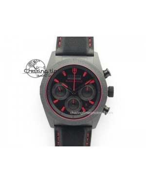 Black Shield Ceramic ZF 1:1 Best Edition Black Dial Red Markers On Black Leather Strap A7753
