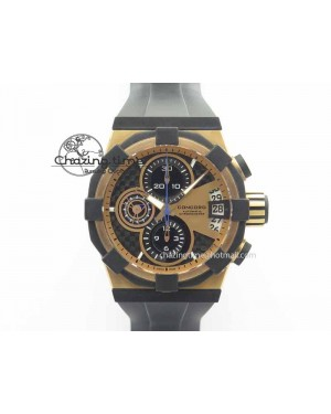 C1 Chronograph RG H-Maker Black CF Dial On Black Rubber Strap A7750