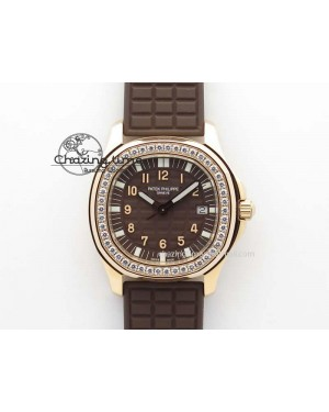 Aquanaut RG 35mm Best Edition Brown Dial Diamond Bezel On Brown Rubber Strap Ronda Quartz