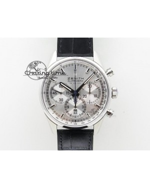 El Primero Chrono SS AXF Silver Dial on Black Leather Strap A7750