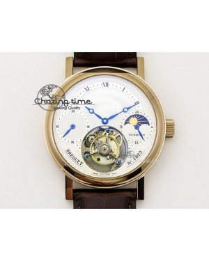 Grand Complication Moon Phase Tourbillon RG White Dial On Brown Leather Strap