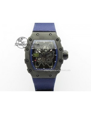 RM 035 Forge Carbon Blue Inner Bezel Skeleton Dial On Blue Nylon Strap MIYOTA9015