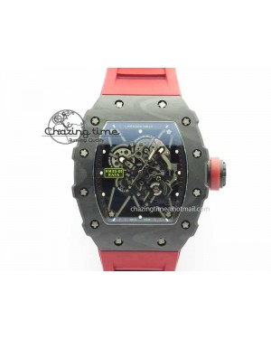 RM 035-01 Forged Carbon KVF Best Edition Black Skeleton Dial Red On Rubber Strap MIYOTA8215