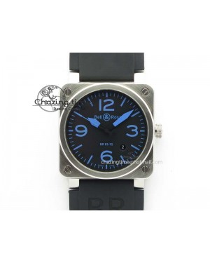 BR 03-92 SS Black Dial Blue Numbers 42MM On Black Rubber Strap MIYOTA 9015