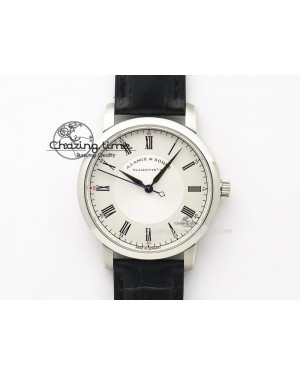 Langematik MK Best Edition SS White Dial On Black Leather Strap A88275
