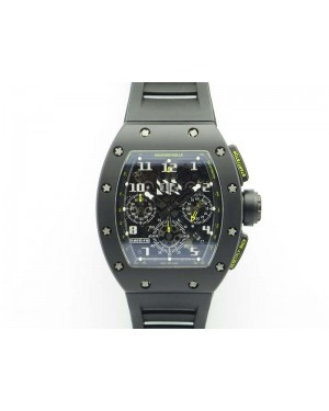 RM011 Carbon Case Chrono KVF 1:1 Best Edition Ceramic Bezel Skeleton Dial On Rubber Strap A7750