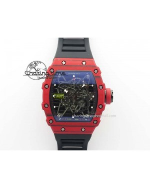 RM 035-2 Red Carbon Black Inner Bezel Skeleton Dial On Black Rubber Strap MIYOTA9015
