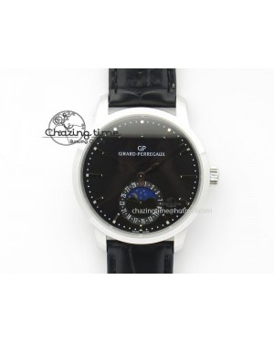GP Moonphase SS Black Dial On Black Leather Strap On Cal.GP033MO
