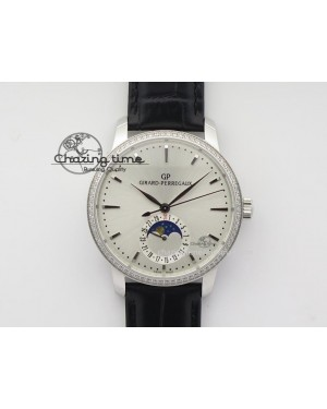 GP Moonphase SS Silver Dial Diamond Bezel On Black Leather Strap On Cal.GP033MO