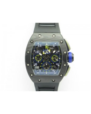 RM011 SS Felipe Massa 10th Anni KVF 1:1 Best Edition Skeleton Dial Blue On Rubber Strap A7750