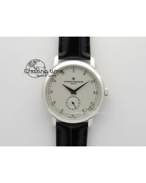 VC Sec@6 SS UT Best Edition White Dial Diamond Markers On Black Leather Strap