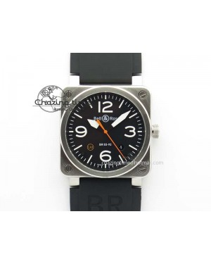BR 03-92 SS Black Dial (Orange Sec Hand) 42MM On Black Rubber Strap MIYOTA 9015