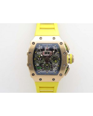 RM011 RG Chronograph RG Case KVF 1:1 Best Edition Crystal Skeleton Dial On Yellow Rubber Strap A7750