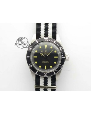 Vintage Submariner No Date SS Black Dial 200m 660ft On Nylon Strap A2836