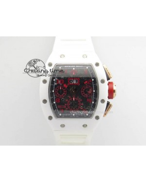 RM011 Felipe Massa White Ceramic/RG RMF Red Crown On White Rubber Strap A7750
