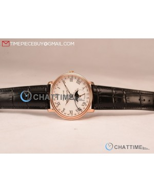 BlancPain Villeret Miyota 9015 Automatic Rose Gold Case with White Dial Roman and Black Leather Strap (EF)